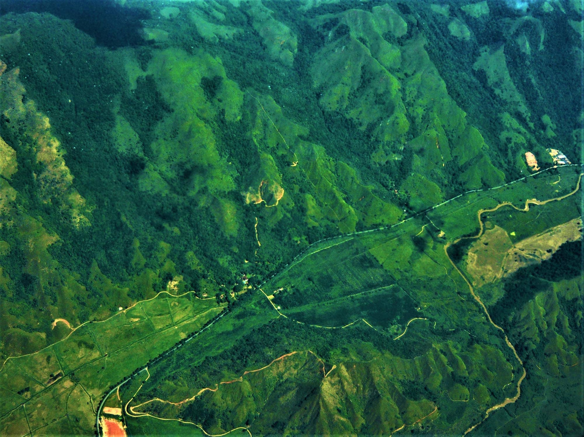 Aerial view of green lush mountains