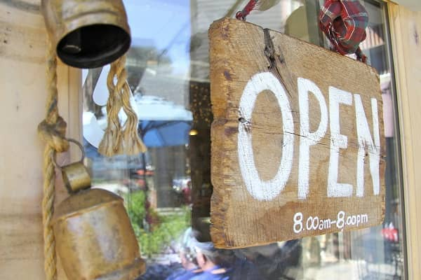 Rustic Open Sign on Glass Business Door