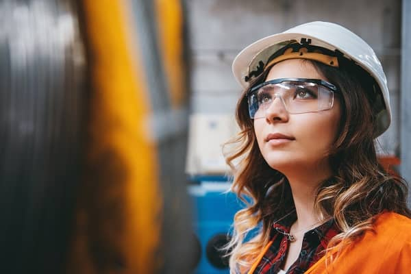 Woman with safety glasses