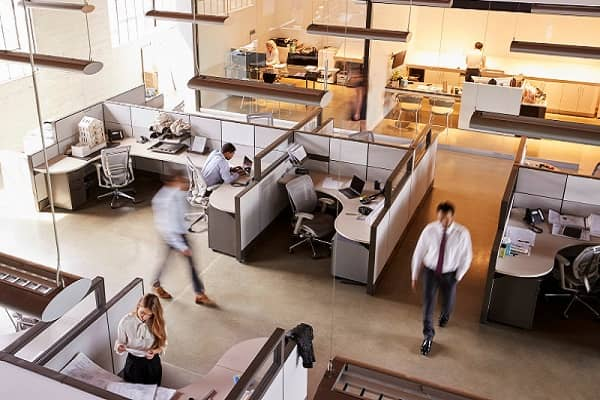 Elevated view of busy open plan office