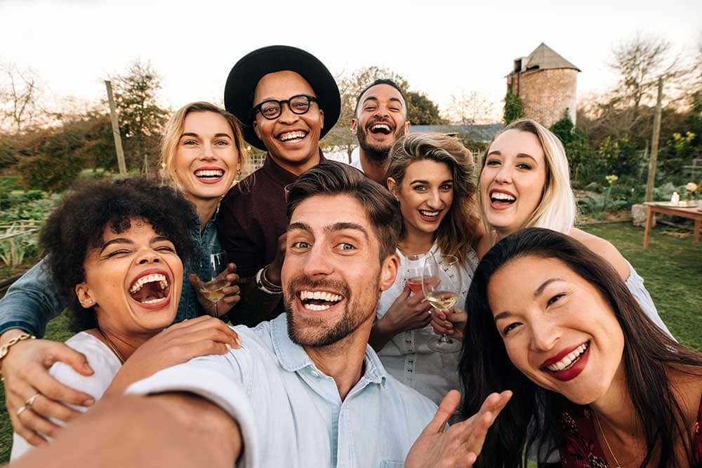 Selfie of group at a party