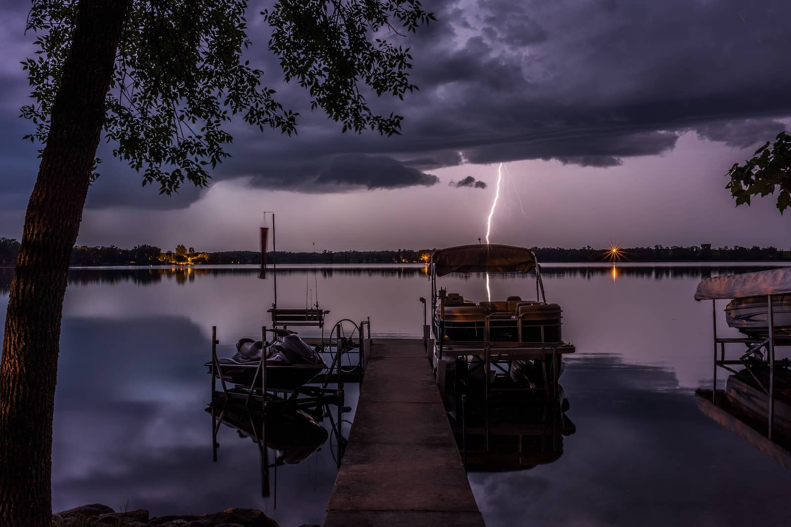 Boat During Lightning Storm