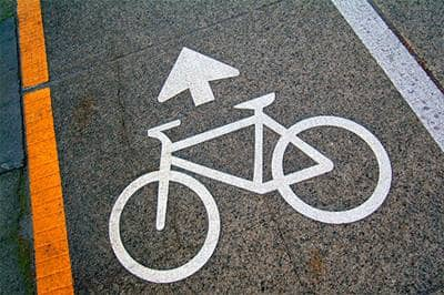 Bicycle lane marking on road