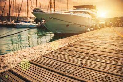Docked boat at Sunset