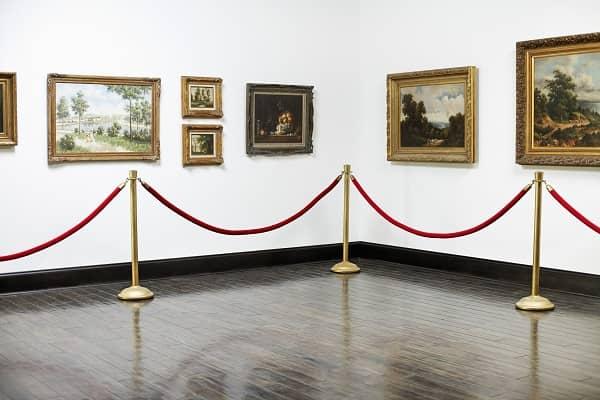 Art hanging in museum