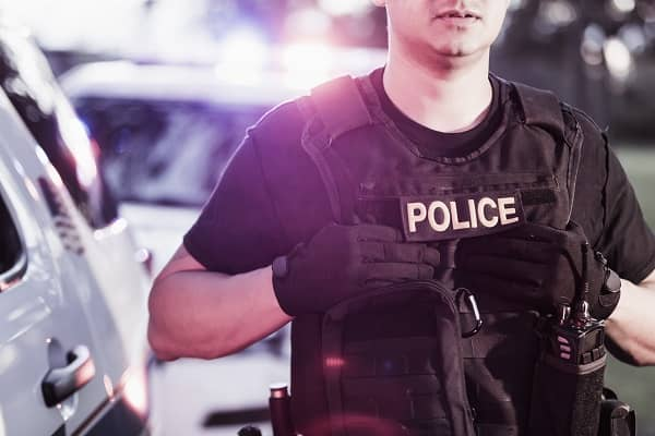 Police Officer with bullet proof vest