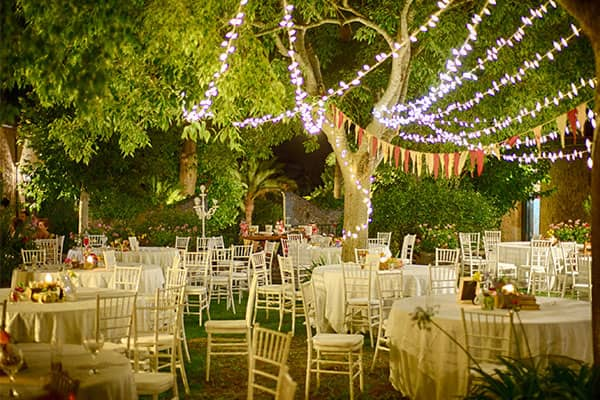 Outdoor wedding with lights