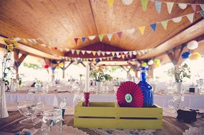 Colorful outdoor reception