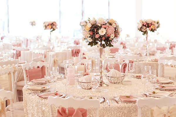 Pink wedding reception tables