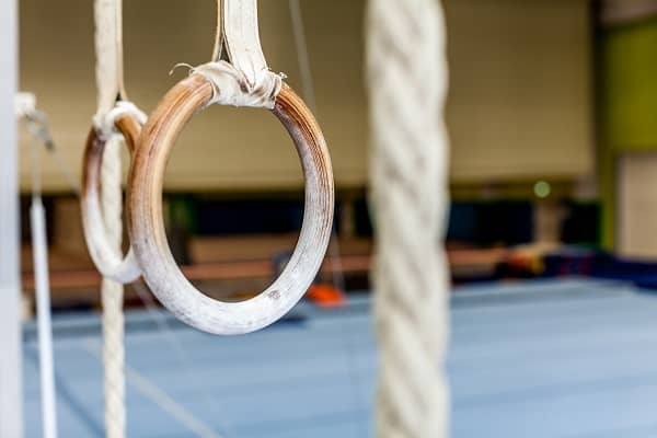 Gymnastics rings empty gym